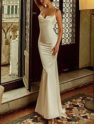 cheap -Mermaid / Trumpet Reformation Amante Elegant Engagement Formal Evening Dress Spaghetti Strap Sleeveless Sweep / Brush Train Charmeuse with Sleek Appliques 2021