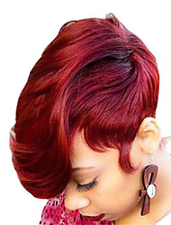 cheap -Synthetic Wig Curly Bouncy Curl Asymmetrical Wig Short Wine Red Synthetic Hair Women's Fashionable Design Classic Burgundy