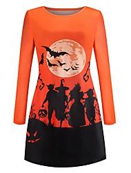 cheap -Women's Halloween A Line Dress Short Mini Dress White Black Orange Long Sleeve Cat Bat Print Animal Print Summer Round Neck Hot Vintage 2021 S M L XL XXL