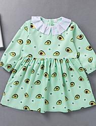 cheap -Kids Toddler Girls' Basic Solid Colored Print Long Sleeve Knee-length Dress Light Green