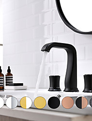 cheap -Bathroom Sink Faucet - Widespread Oil-rubbed Bronze / Chrome / Black / Gold Widespread Two Handles Three Holes Bath Taps Hot Cold Water Basin Faucet Vanity Vessel Sink Mixer Tap