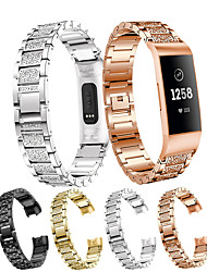 cheap -1 Pcs Watch Band For Fitbit Charge 4 wristBand Stainless Steel Strap For Fitbit Charge3 Fitness Bracelet Luxury Slingshot Buckle Solid Metal Belt