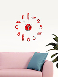 cheap -18 Inch DIY Wall Clock, Modern 3D Wall Clock with Mirror Numbers Stickers for Home Office Decorations Gift