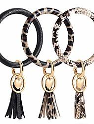 cheap -key ring bangle bracelet,leather keyring bracelet key chains with tassel wristlet bangles for women girls (snakeskin leopard black style)