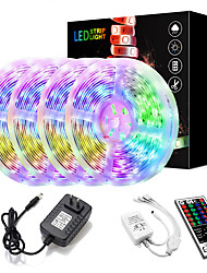 cheap -20M(4x5M) LED Light Strips Kit RGB Tiktok Lights 2835 1200 LEDs 8mm Strip Flexible Light LED IR 44Key Remote Controller with EU US AU UK Power Supply AC110-240V