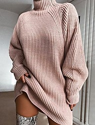 cheap -Women's Basic Knitted Solid Color Plain Dress Acrylic Fibers Long Sleeve Loose Sweater Cardigans Turtleneck Fall Winter White Blushing Pink Gray