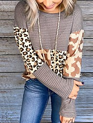 cheap -Women's T shirt Camouflage Color Block Leopard Long Sleeve Cut Out Patchwork Print Round Neck Tops Basic Basic Top Khaki