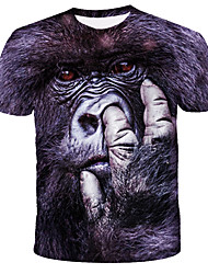 cheap -Men's T shirt Graphic Animal Print Short Sleeve Daily Tops Streetwear Exaggerated Black