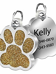 cheap -custom dog tag personalized name engraved stainless steel, in shape of glitter paw (gold)