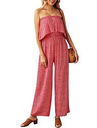 cheap -Women's Basic Blue Red Jumpsuit Polka Dot Backless