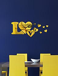 cheap -DIY Decorative LOVE Shape Acrylic Wall Clock Wallpaper Mirror Wall Sticker For Living Room Decoration