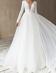 cheap -A-Line Wedding Dresses V Neck Court Train Satin Tulle Long Sleeve Simple with Beading 2020