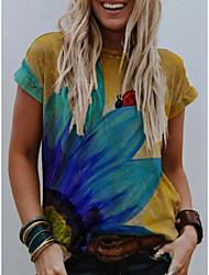 cheap -Women's T-shirt Floral Animal Flower Print Round Neck Tops Basic Basic Top Yellow Gray
