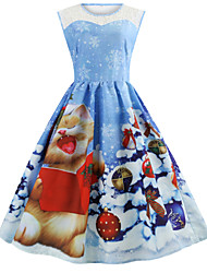 cheap -Women's A Line Dress Knee Length Dress Light Blue Sleeveless Print Print Fall Round Neck Casual Christmas 2021 S M L XL XXL