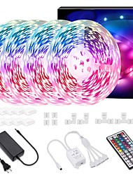 cheap -LED Strip Lights 65.6ft 20m(4x5m) RGB 600 LED 5050 SMD Color Changing Kit with 44 Keys IR Remote Controller for Kitchen Home Party 10A Power Adapter