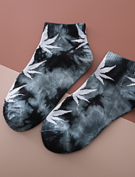 cheap -Athletic Sports Socks 1 Pair Tie Dye Short Women's Men's Crew Socks Tube Socks Breathable Sweat wicking Comfortable Gym Workout Basketball Running Skateboarding Sports Colorful Weed Leaf Cotton Black