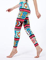cheap -Women's Sporty Yoga Comfort Skinny Daily Leggings Pants Geometric Pattern Ankle-Length High Waist Red