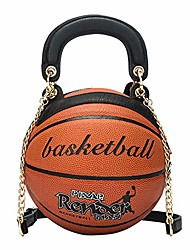 cheap -basketball shaped shoulder messenger handbags purse tote cross body pu leather cute bag adjustable strap for women girls (brown)