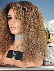 cheap -Synthetic Wig Curly Afro Curly Asymmetrical Lace Front Wig Long Brown Synthetic Hair Women's Fashionable Design Ombre Hair Exquisite Brown
