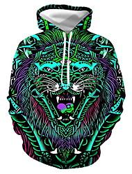 رخيصةأون -رجالي مناسب للبس اليومي البلوز هوديي البلوز نمط الحيوان الرسم كاجوال هوديس بلوزات أخضر