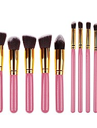 cheap -foundation powder brush kabuki concealer blush makeup brushes 10pcs makeup brushes kit professional nylon hair make up brush set (gold ferrule, pink)