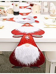 cheap -Placemat/Table Runner Nonwoven Christmas Contemporary Holiday Table Cover Table Decorations For Christmas Rectangular 180*40/40*31 Cm Red With White 1 pc