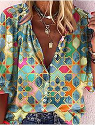 cheap -Women's Blouse Shirt Abstract Long Sleeve Print V Neck Tops Basic Basic Top Black Blue Green