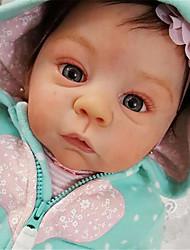 billige -21 inch Reborn-dukker Baby- og småbørnslegetøj Babypiger Reborn Baby Doll Harlow Nyfødt livagtige Håndlavet Simulering Floppy Head Klæde Silicone Vinyl med tøj og tilbehør til pigers fødselsdag og