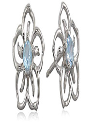 cheap -sterling silver genuine sky blue topaz flower stud earrings