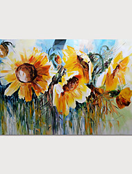 cheap -Oil Painting Hand Painted Horizontal Floral / Botanical Modern Stretched Canvas