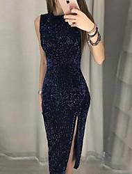 cheap -Women's Sheath Dress Maxi long Dress - Sleeveless Solid Color Split Patchwork Fall Sexy Party Club 2020 Navy Blue S M L XL