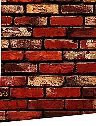 cheap -Wallpaper Wall Sticker Peel and Stick Brick Self-adhesive Removable 3D Tapiz Red Bricred PVC 45*1000 cm