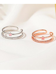 cheap -Open Cuff Ring Classic Rose Gold Silver Rhinestone Alloy Flower Flower Shape Simple Sweet Fashion 1pc Adjustable / Women's