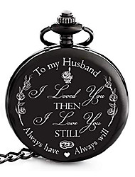 cheap -anniversary gifts for him i anniversary gift for husband - engraved 'to my husband' pocket watch | i love you gift for husband for birthday i valentines i anniversary gift for men