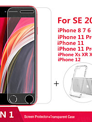 cheap -2 in 1 Tempered glass For iphone SE 2020 11 Pro Max XR Soft Clear Case&Tempered glass For iphone 6 7 8 11 6S Plus