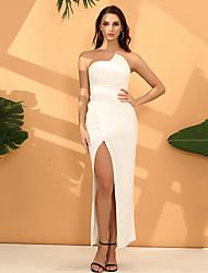 cheap -Women's Sheath Dress Maxi long Dress - Sleeveless Solid Color Zipper Summer Strapless Sexy Party 2020 White Blue Wine S M L XL XXL