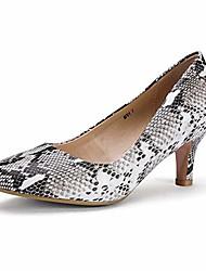 cheap -women's classic low heels dress pumps 2 inch kitten heel round toe office wedding shoes (snake white, 9 b(m) us)
