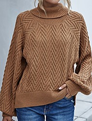cheap -Women's Basic Knitted Solid Color Plain Pullover Acrylic Fibers Long Sleeve Sweater Cardigans Turtleneck Fall Blushing Pink Brown