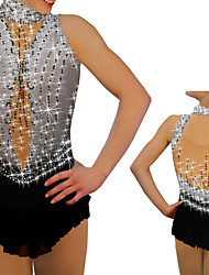 cheap -Figure Skating Dress Women's Girls' Ice Skating Dress Grey Spandex High Elasticity Training Competition Skating Wear Handmade Crystal / Rhinestone Sleeveless Ice Skating Winter Sports Figure Skating