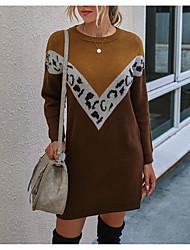 cheap -Women's Sweater Jumper Dress Short Mini Dress - Long Sleeve Color Block Fall Winter Casual 2020 Black Khaki S M L XL