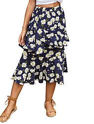 cheap -Women's Daily Wear Basic Skirts Floral Leopard Layered Ruffle Print Blue Khaki