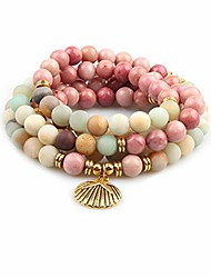 cheap -8mm 108 mala beads wrap bracelet necklace for yoga charm bracelet natural gemstone jewelry for women men (mixed color amazon beads with shell)