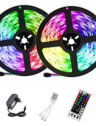 cheap -2x5M LED Light Strips RGB Tiktok Lights 300 X 2835 SMD 8mm LEDs with IR 44 Key Double Outlet Controller DC12V