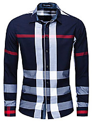 cheap -men's cotton long sleeve casual plaid shirts collared button down regular fit 199 blue m