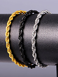 cheap -Men's Wrap Bracelet Rope Handcuffs Fashion Stainless Steel Bracelet Jewelry Black Gold Silver For Gift Daily