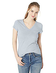 cheap -amazon brand - women& #39;s lightweight lived-in cotton pocket v-neck t-shirt, animal print, small