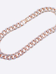 cheap -Women's Men's Necklace Patchwork Friends European Hip Hop Alloy Rose Gold Silver Gold 55 cm Necklace Jewelry For Street Birthday Party Festival
