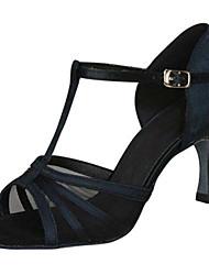 cheap -Women's Latin Shoes Heel Flared Heel PU Leather Buckle Black / Almond