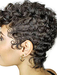 cheap -Synthetic Wig Curly Afro Curly Pixie Cut With Bangs Wig Short Brown Black Synthetic Hair 8 inch Women's Adorable Natural Hairline Exquisite Black Brown