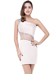 cheap -A-Line Elegant Beautiful Back Party Wear Cocktail Party Dress One Shoulder Sleeveless Short / Mini Spandex with Crystals 2020